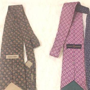2 Silk Ties Tommy Hilfiger & Calvin Klein
